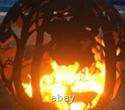 FIRE PIT GLOBE ESSCHERT DESIGN LASER CUT OXIDISED RUST WOODLAND TREE DEERS 66cm