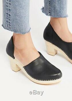Free People Clog Heel Platform Wood black leather Cut Out Side 39/8 NIB
