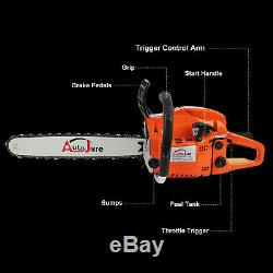 Gas Chainsaw 2 Cycle Wood Cutting Tool 52cc Gasoline Chain Saw Outdoor Equipment