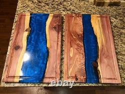 HANDCRAFTED Flowing River Cutting Board 18x12 Cedar & Resin withJuice Grooves NEW