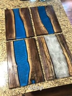 HANDCRAFTED RIVER FLOW Cutting Board 12x18 Walnut & Resin withJuice Grooves 18x12