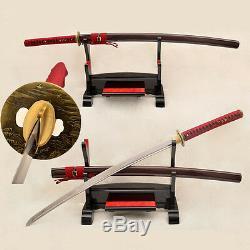 Hand Forged Japanese Sword Katana 9260 Spring Steel Blade Very Sharp Cut Trees