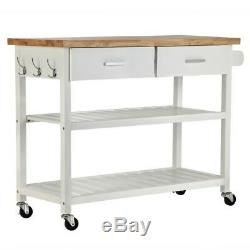 Homegear Deluxe Kitchen Storage Cart Island with Rubberwood Cutting Block on Wheel