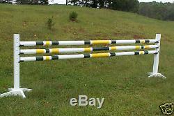 Horse Jumps 3-12ft 3/Stripe CUT Wood Rails 2 Colors Horse Tack