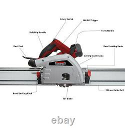 Lumberjack Plunge Cut Circular Saw with 2 Guide Rail Tracks Clamps & 165mm Blade