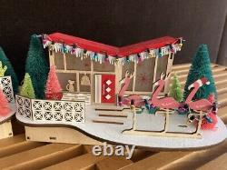 MID Century Modern Christmas Light Up Houses Set Of 3 Houses Putz Laser Cut