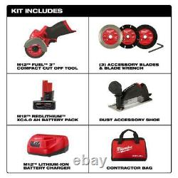 MILWAUKEE 2522-21XC M12 FUEL 12V 3 Compact Brushless Cut Off Tool/Saw Kit-Sale