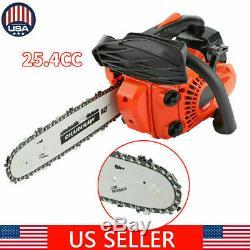 NEW 12'' Bar 25CC Gasoline Chainsaw Gas Powered Wood Cutting Chain Saw Machine