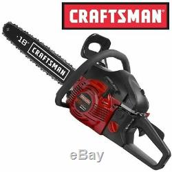 NEW Craftsman 18 42cc Gas Engine Chainsaw 2 Cycle + Case Cut Tree Branches Wood