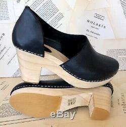 NIB Free People Clog Heel Platform Wood black leather Cut Out Side 39/8 $168