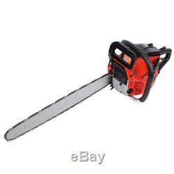 New 22 Bar Gas Powered Chainsaw Chain Saw 52cc Wood Cutting Aluminum Crankcase