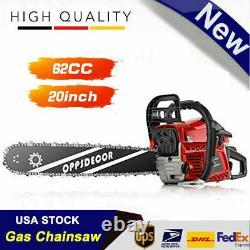 OppsDecor 62cc Gasoline Powered Chainsaw 20 Bar Engine Wood Cutting 2 Cycle