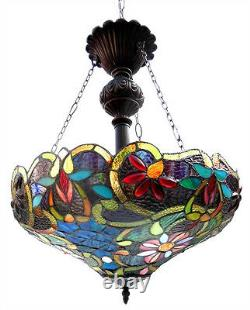 Pendant Light Stained Cut Glass Tiffany Style Reverse Hanging 18 Shade Ceiling