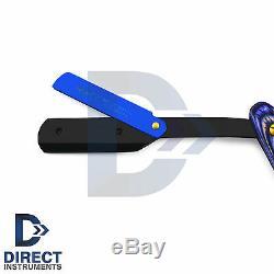 Professional Blue Wood Barber Hair Shaving Razor Straight Blade Folding Knife CE