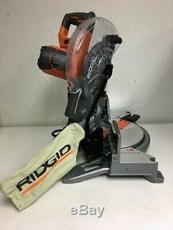RIDGID Dual Miter Saw 15 Amp 10 In LED Cut Line Indicator Dust Bag Light R661