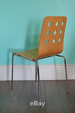 Set Of 4 MID Century Modern Style Dining Chairs! Bent Wood Cut Out
