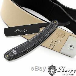 Sharpy Genuine Salon Straight Cut Throat Shaving Razor + Leather Strop Set
