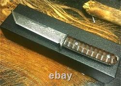 Tanto Knife Japanese Mini Katana Survival Hunting Damascus Steel Fixed Blade Cut
