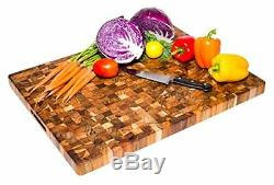 Teak Cutting Board Rectangle End Grain Butcher Block (24 x 18 x 1.5 in.) By