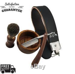 VINTAGE BARBER SALON STRAIGHT CUT THROAT SHAVING RAZOR Gift Set 5 Pc Luxury Kit
