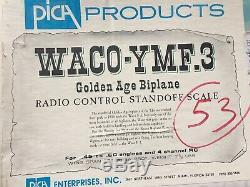 Waco YMF. 3 Golden Age Biplane PICA NIB Laser Cut Kit Vintage RC Airplane