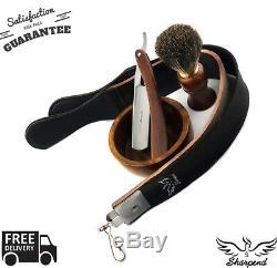 Wood Cut Throat 4 Pc Men's Straight Razor Shaving Kit Luxury Gift Set USA Seller