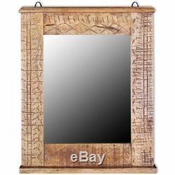 Wooden Bathroom Vanity Cabinet 2 Shelves Mirror Pre-cut Opening for Single Sink