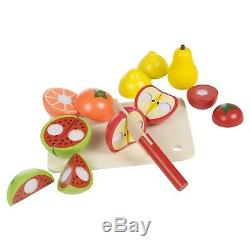 Wooden Kids Cut Up Pretend Play Kitchen Toy Food Cutting Fruit Vegetable Board