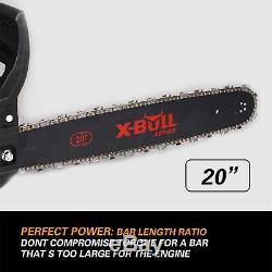 X-BULL 62cc Gasoline Powered Chainsaw 20 Bar Engine 2 Cycle Wood Cutting black