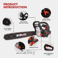 X-BULL 62cc Gasoline Powered Chainsaw 20 Bar Engine Wood Cutting 2 Cycle Black