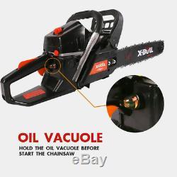 X-BULL 62cc Gasoline Powered Chainsaw 20 Bar Engine Wood Cutting Black 2 Cycle