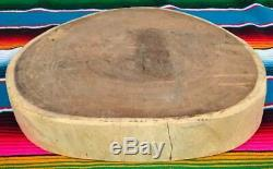 XLg Mexican Mesquite Kitchen Round Wooden Butchers Block Cutting Chopping Board