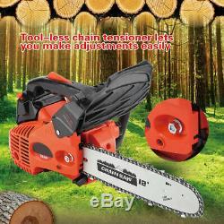 12 ' ' Bar 25cc Essence Chainsaw Gaz Powered Machine Scie À Chaîne De Coupe De Bois