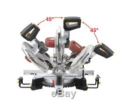 12 Scie À Onglets W Guide Laser Double Système Coulissant Bevel Coupes Composées Plus Épaisses