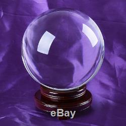 150mm Effacer Énorme Asiatique Quartz Magic Crystal Cut Healing Boule Sphère + Bois Support