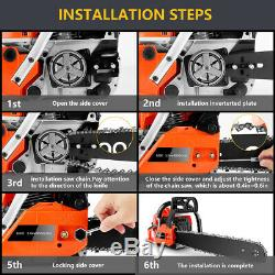 20 3.5hp 62cc Guide De Carte Chainsaw Propulsion À Essence Chaîne À Main Scie À Bois Cut
