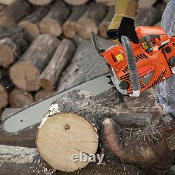 20 58cc Sans Fil Gas Chainsaw Essence Essence Bois D'exploitation Forestière Coupe 2 Coups