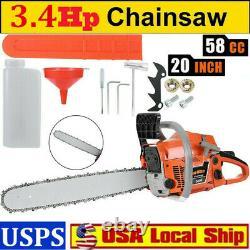 20'' Bar 58cc Gasoline Chain Saw 3.4hp Gased Wood Cutting Chain Saw 2stroke