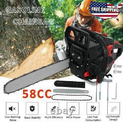 20'' Bar 58cc Gasoline Chain Saw 4.0hp Chain Saw De Coupe De Bois Alimenté Au Gaz Nouveau Us