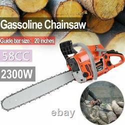 20'' Barre 58cc Chainière D'essence 3.4hp Chainière De Coupe De Bois Alimentée Au Gaz É.-u.