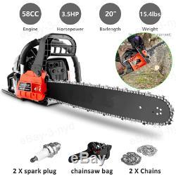 20 Pouces Gaz Chainsaw 58cc Motorisé Scie À Chaîne Gaz 2 Temps Pour Coupe De Bois