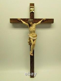 22 Dolomiten Crucifix En Bois Rustique Style Unique Rough Cut Croix Peinte