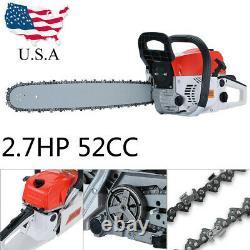 52/58cc 4.5hp 20'' Bar Gasoline Chainsaw Gas Powered Wood Cutting Chain Saw