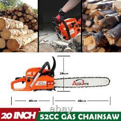 52cc Gaz Powered Chainsaw 20'' 2 Course Coupe Bois Chaîne À Essence Kits De Scie