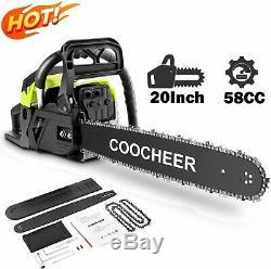 58cc 20 Pouces Chainsaw 2 Essence Stroke Chaîne Powered Handheld Scie De Coupe De Bois