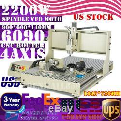 6090 4 Axes Routeur Cnc Machine Graveuse 2.2kw Mèche À Bois / Métal En Acier Coupe Usb