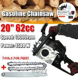 62cc 4500w 20 ' ' Bar Chainsaw Moteur À Essence Coupe Chaîne Bois Gaz Scie 2t