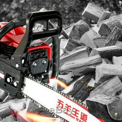 62cc Chainsaw Propulsion À Essence Coupe Bois Gaz Scie À Chaîne 2 Élagage Stroke