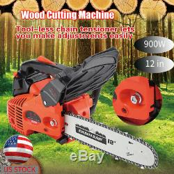 900w 12 25.4cc Gaz Powered Bois Essence Chainsaw Rogneuse Outil De Coupe