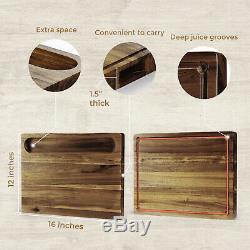 Acacia Bois Planche À Découper 16 X 12 X 1,5 Pouces Extra Large & Épais Us Stock